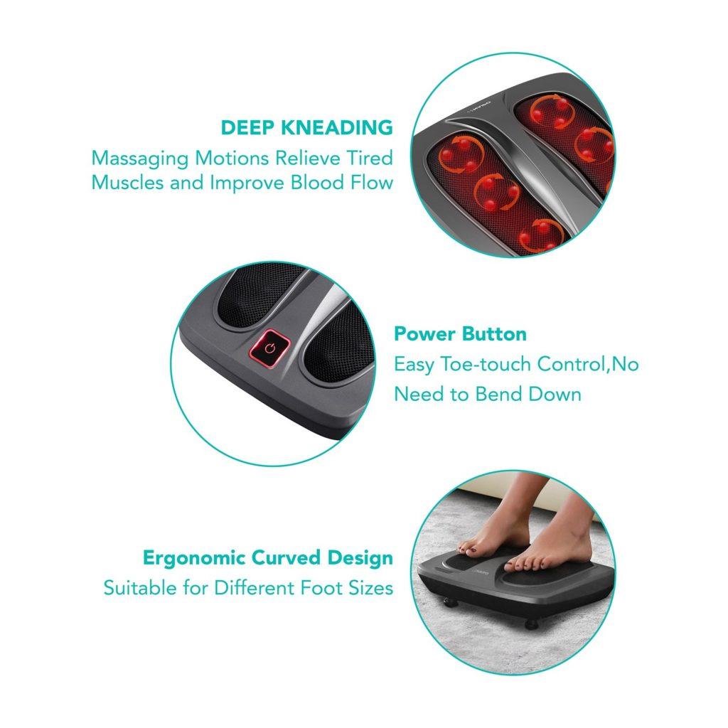 Funciones del masajeador de pies Naipo.